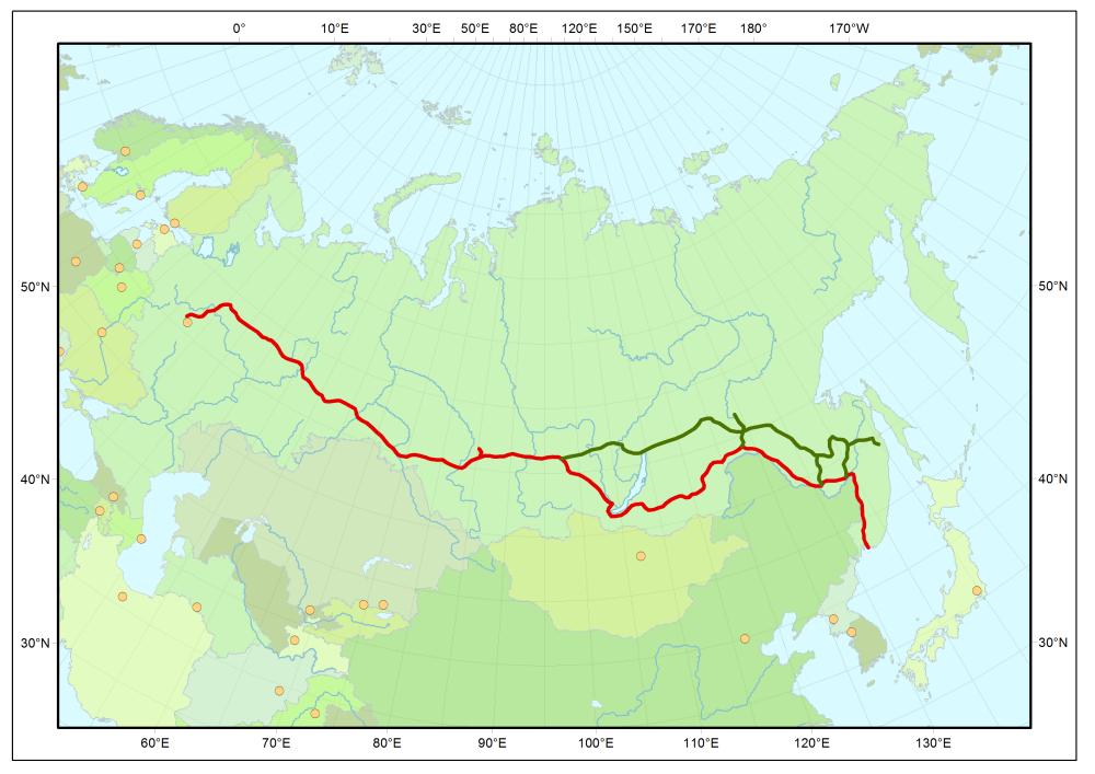 Historische Strecke  (rot) der Transsibirische Eisenbahn Moskau-Wladiwostok