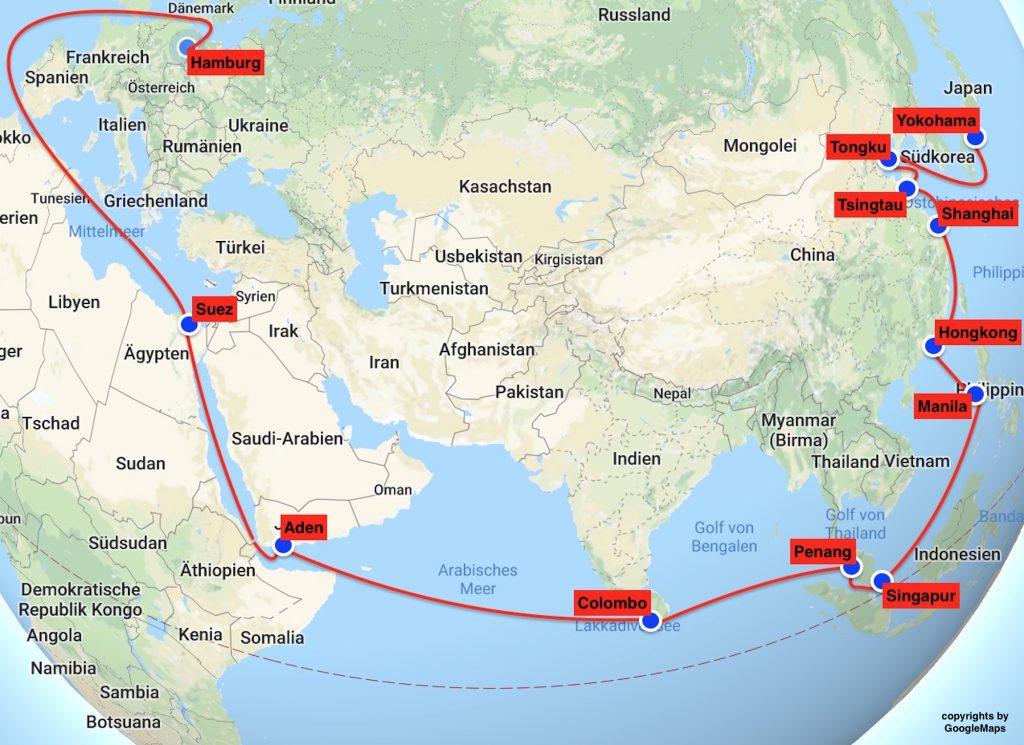 Route der Postdampfer
