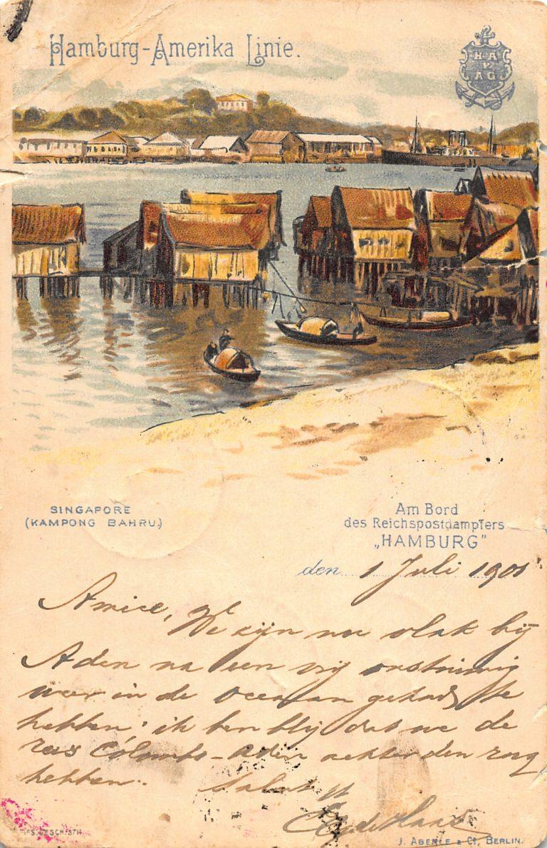 "Ansichtskarte vom Bord des Postdampfers ""Hamburg"""