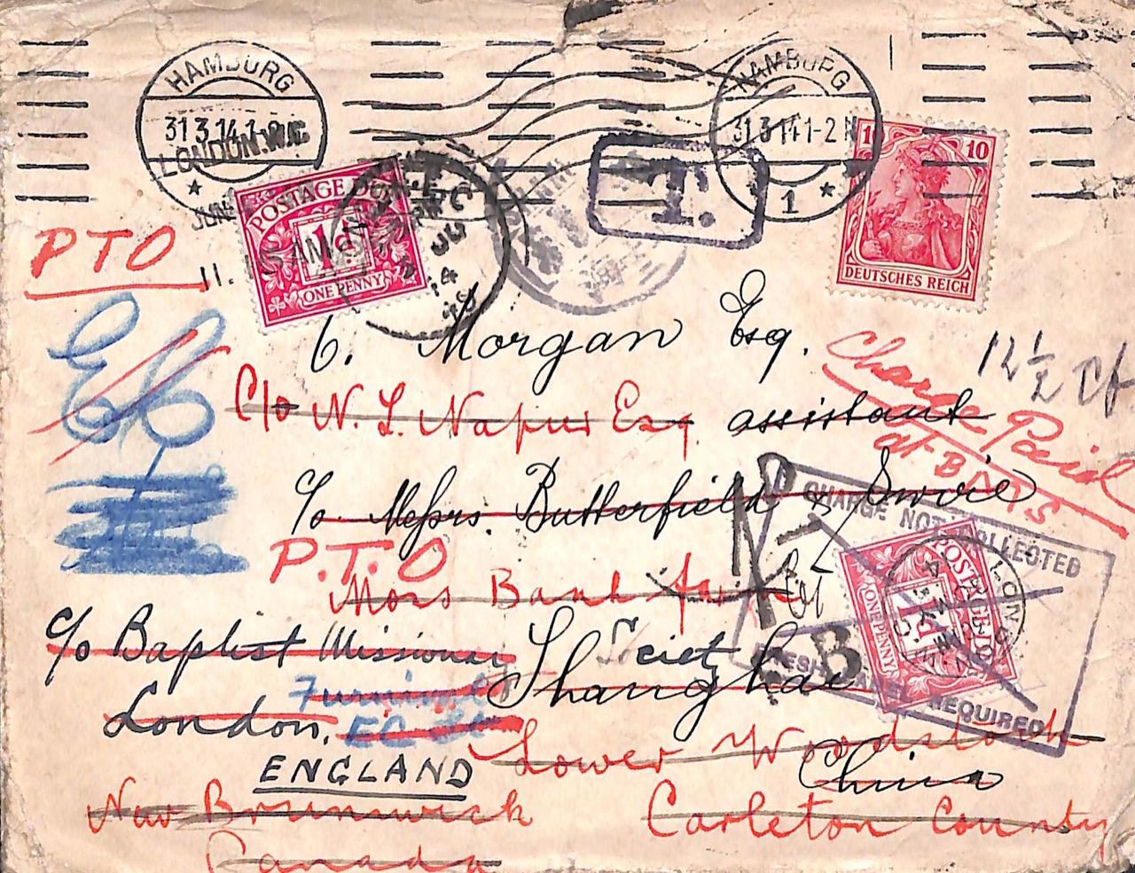 1914, Brief aus Deutschland nach China, Kanada und England mit Nachgebühr