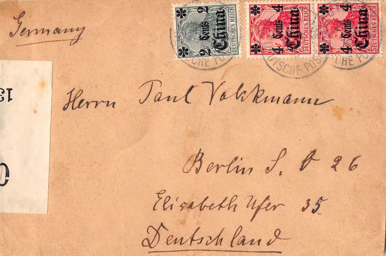 1916, Kriegspost-Brief aus Futschau nach Deutschland mit englischer Zensur