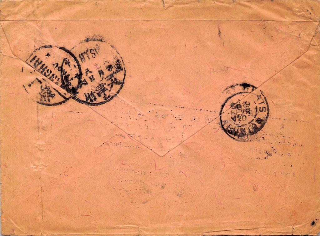 1919, Brief aus Hukien Hsien nach Reunion, drei Monate Laufzeit