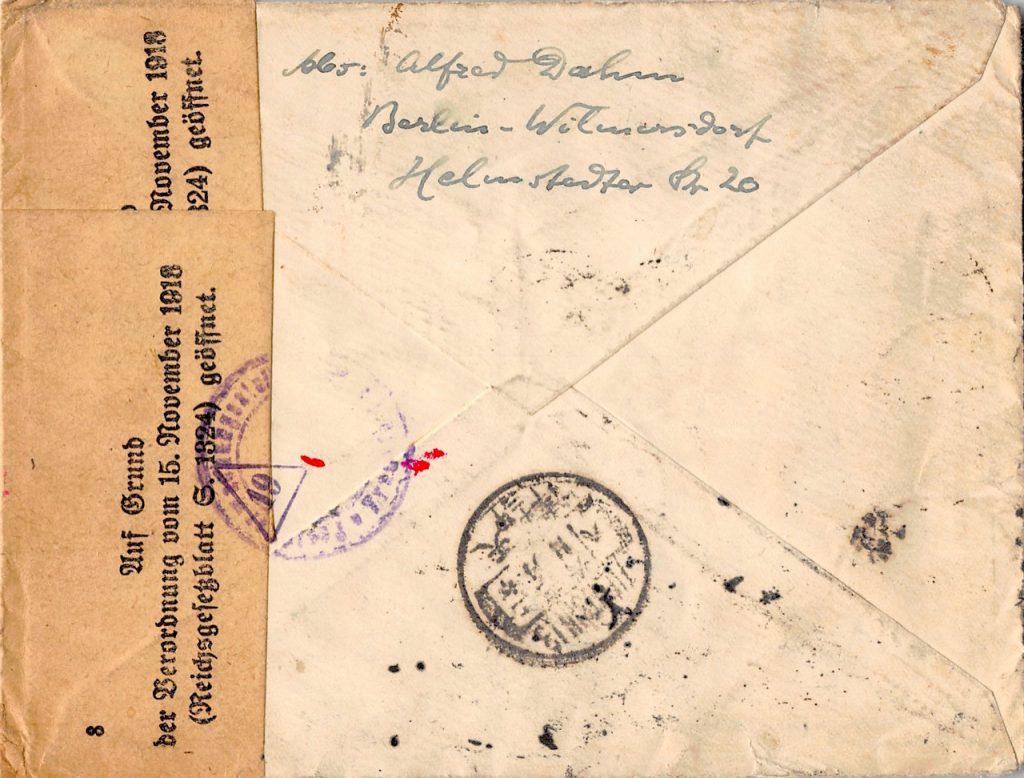 1922, Retour-Einschreiben aus Deutschland nach China, Incoming Mail