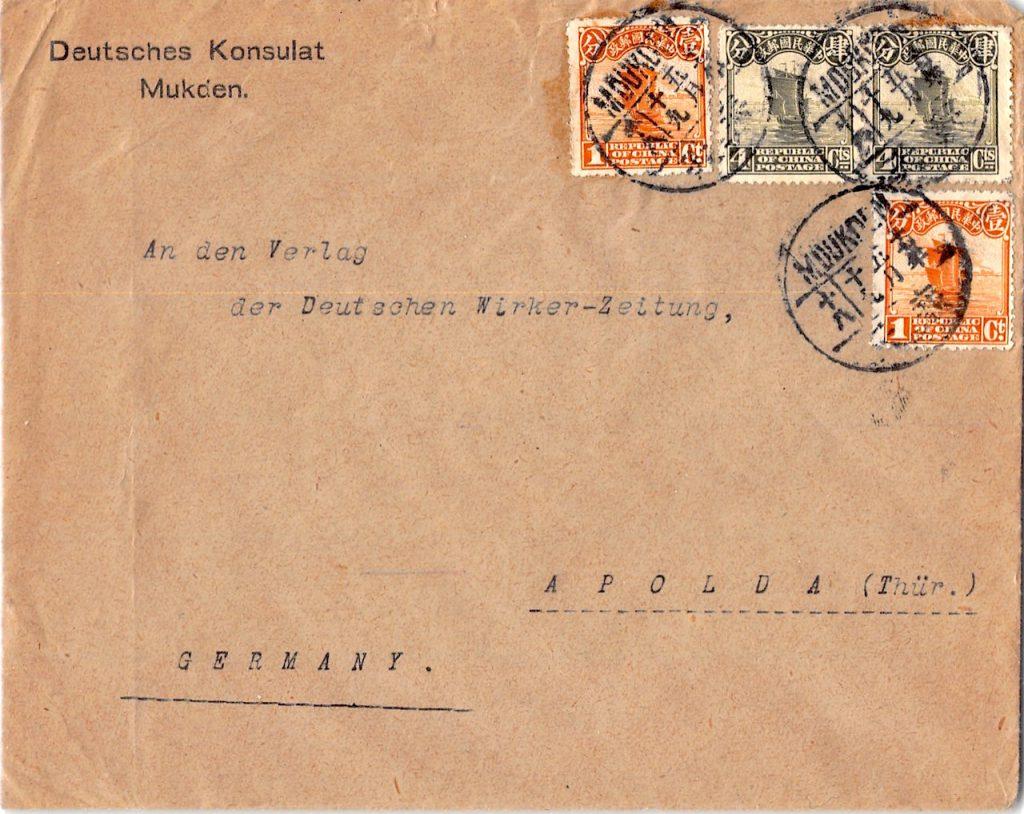 1922, Brief des Deutschen Konsulats in Mukden nach Deutschland