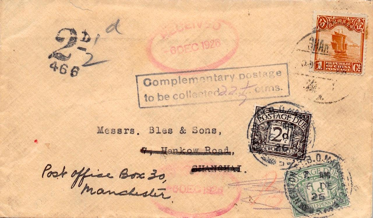 1926, Nachgebühr-Brief von Shanghai nach Großbritannien