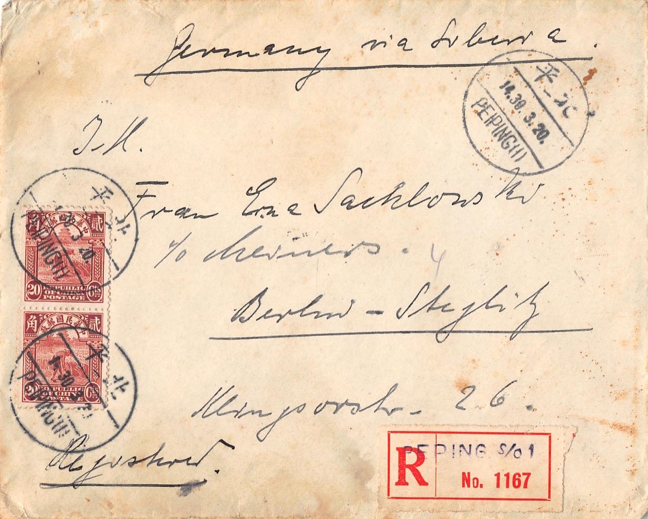 1931, Einschreibbrief aus einer kurzen Portoperiode aus Peking nach Deutschland