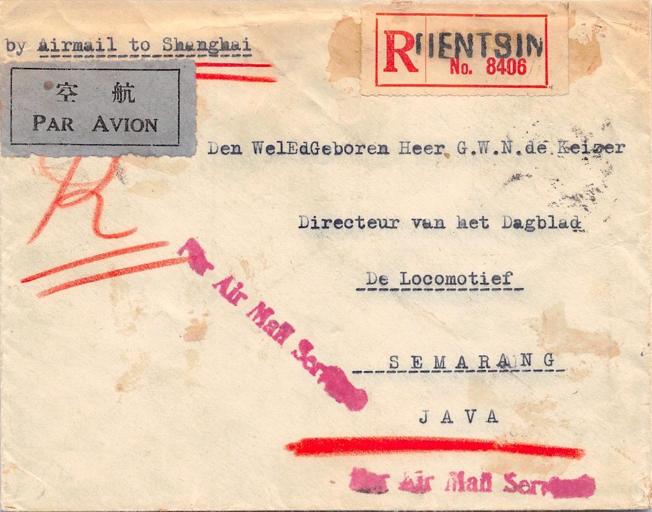 1933, Luftpost-Einschreibbrief mit Massenfrankatur aus Tientsin nach Java