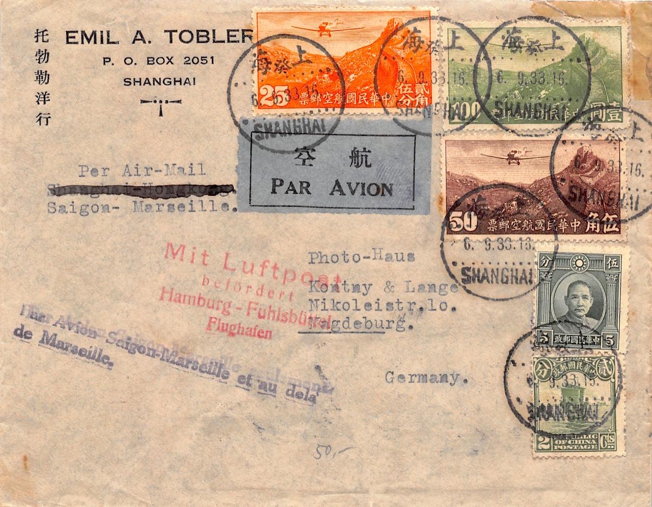 1933, Luftpostbrief aus Shanghai über Saigon-Marseille und weiter nach Deutschland