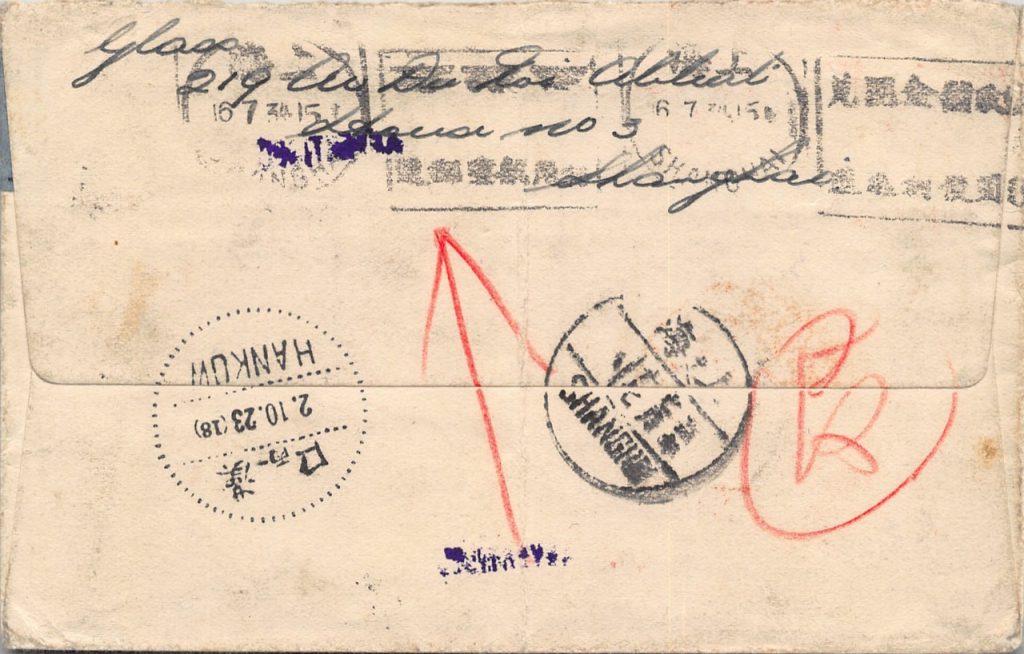 1934, Retour-Luftpostbrief aus Hankow nach Shanghai