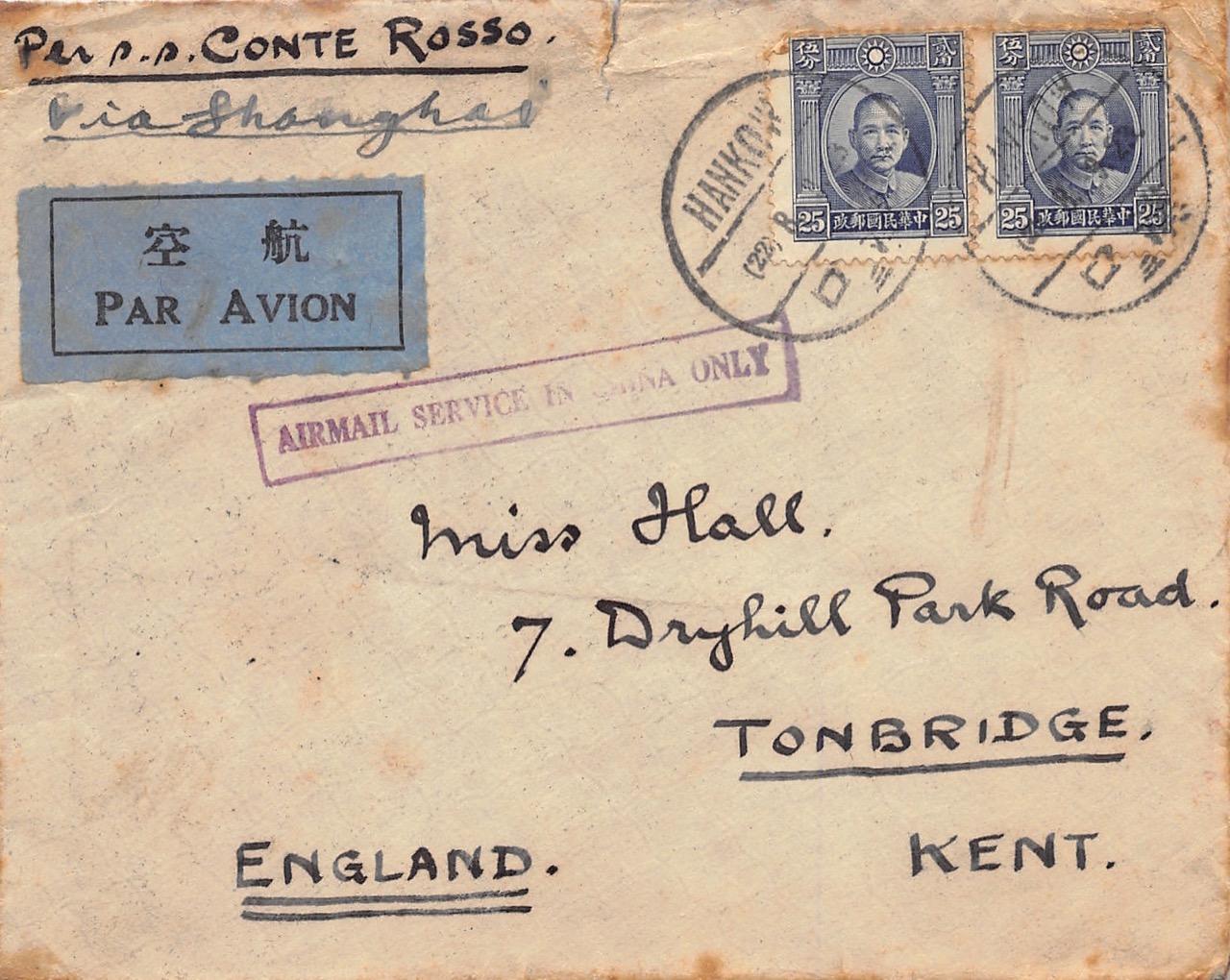 1934, Luftpostbrief aus Hankow nach Shanghai, weiterbefördert mit Dampfer nach England