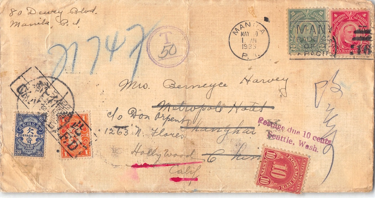 1933, Nachporto-Brief aus Manila nach Shanghai weiter nach Hollywood (USA)