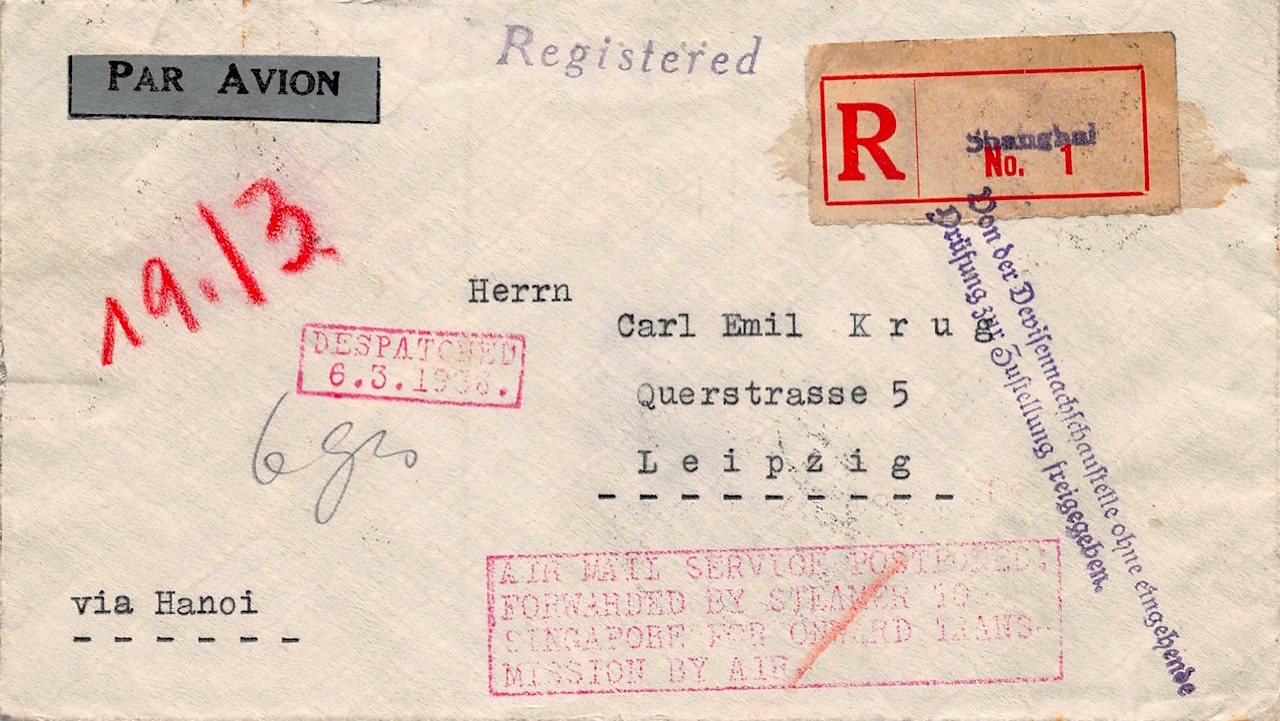 1936, Einschreiben aus Shanghai, Luftpostdienst verschoben, per Dampfer weitergeleitet