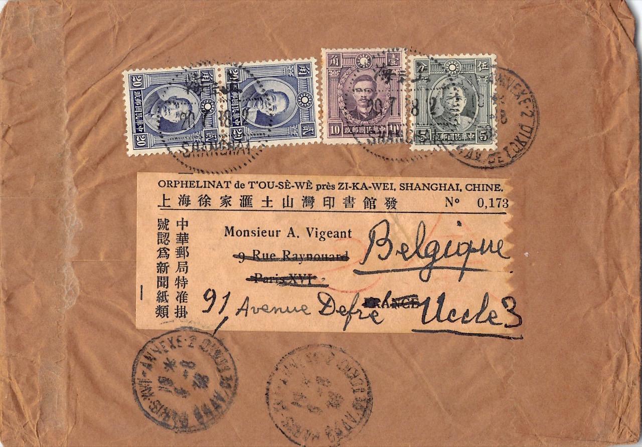 1938, Brief der 3. Gewichststufe aus Shanghai nach Belgien