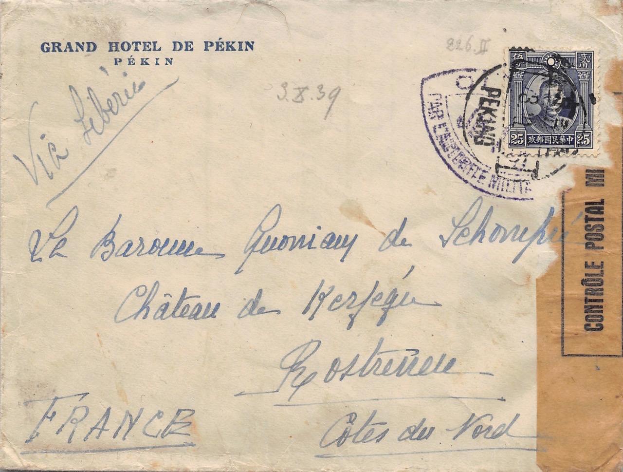 1939, Zensur-Brief aus Peking nach Frankreich