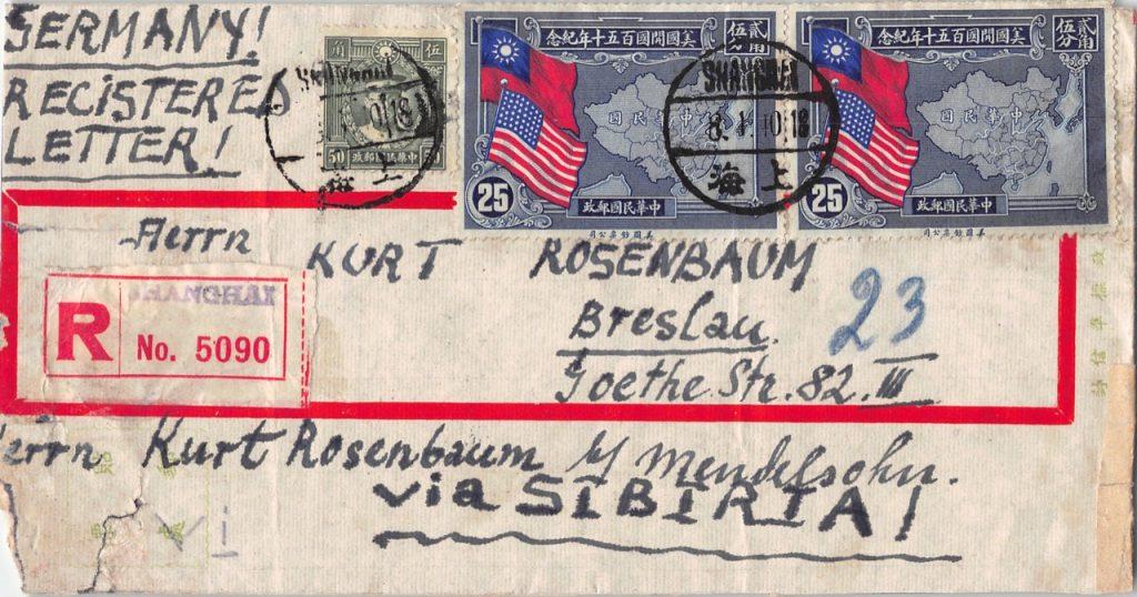 """1940, """"150 Jahre Verfassung der USA"""" auf Zensur-Einschreibbrief aus Shanghai nach Breslau"""