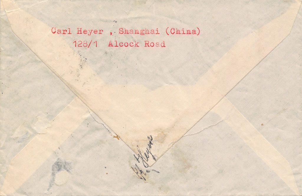 1940, Zoll-Stempel auf Einschreibbrief aus Shanghai nach Norwegen