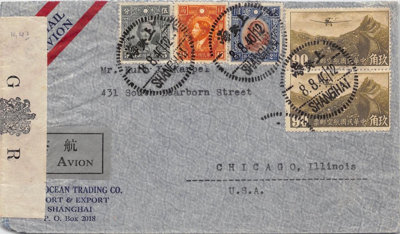 1940, Zensur-Luftpostbrief aus Shanghai über Hongkong in die USA