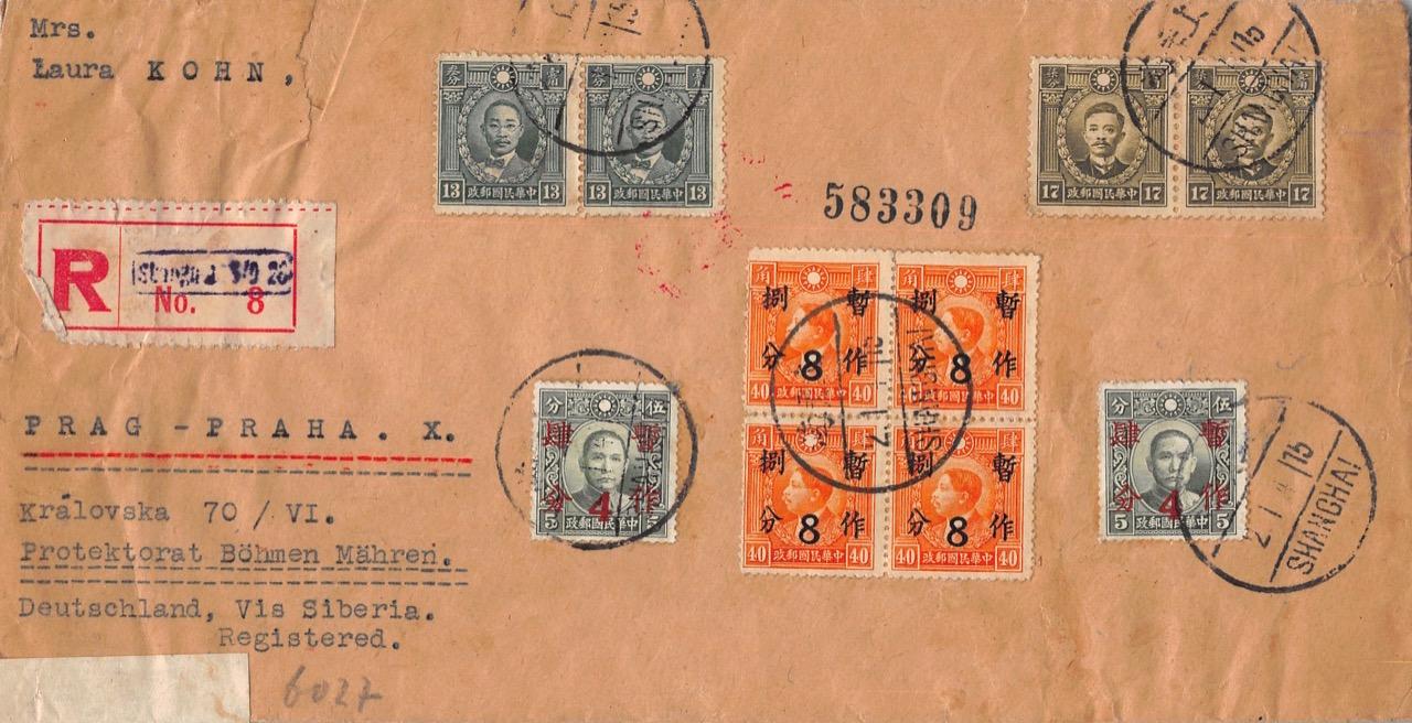 """1941, """"Überdruck-Provisorien"""" auf Zensur-Einschreibbrief aus Shanghai nach Prag (Böhmen und Mähren)"""