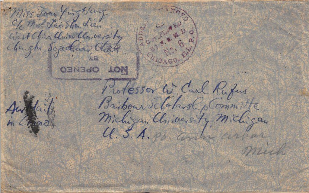 """1941, """"Dah Tung"""" auf Zensur-Luftpostbrief aus Chengdu nach Michigan (USA)"""