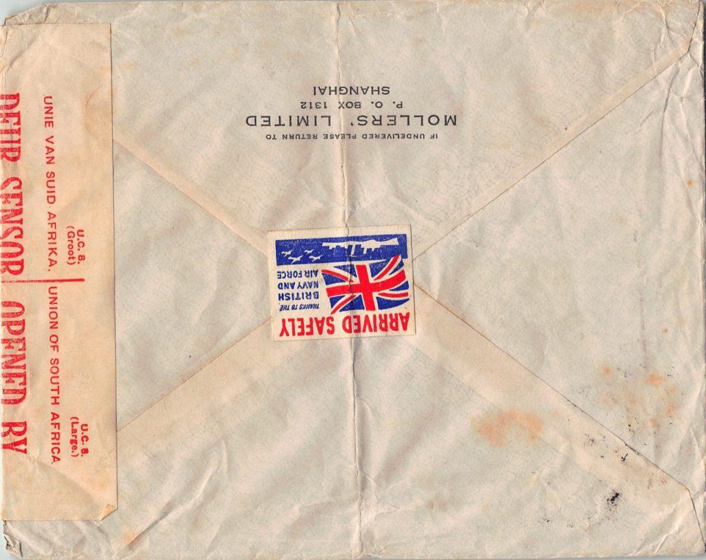 """1941, """"New York Druck"""" auf Zensur-Brief der dritten Gewichtsstufe aus Shanghai nach Südafrika"""