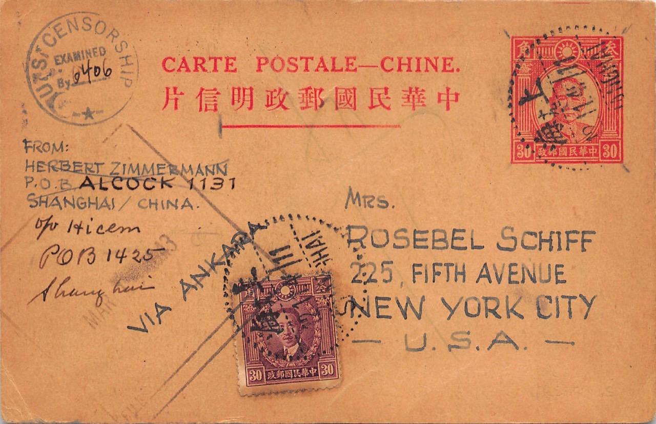 1941, Zensur-Ganzsache aus Shanghai via Türkei in die USA