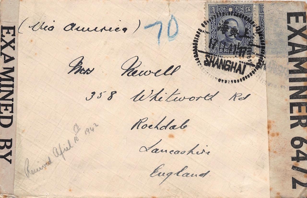 1941, Doppel-Zensur-Brief aus Shanghai via USA nach Großbritannien