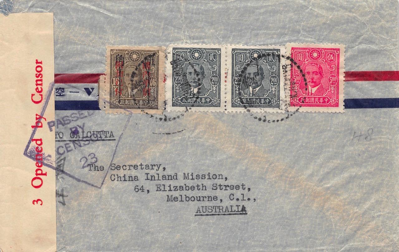 1943, zensierter Luftpostbrief aus Chungking mit 50-Cents-Provisorium (Ost-Sichuan) nach Australien
