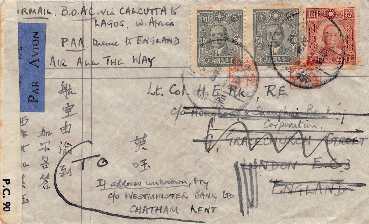 1943, zensierter Luftpostbrief aus Chuhsien (Sichuan) nach England mit rotem Postshop-Stempel