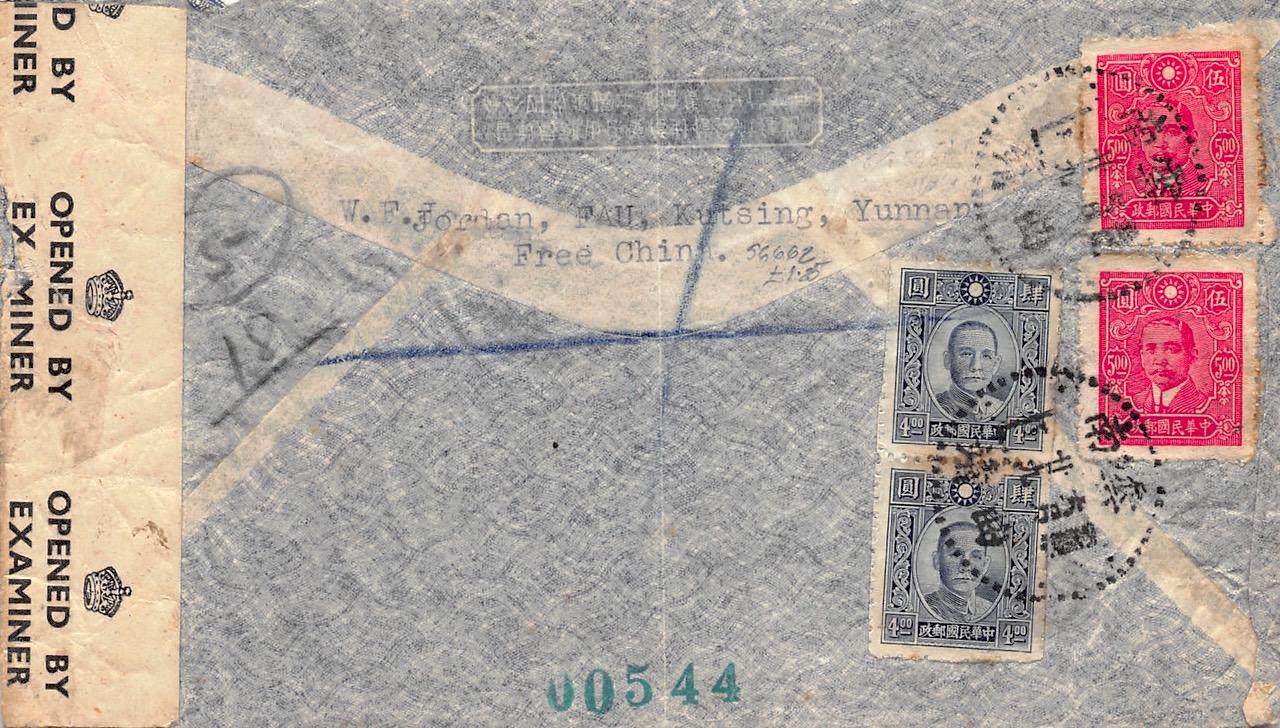 """1943, zensierter Luftpost-Einschreibbrief aus Kutsing nach England mit britischem Militärflugzeug """"Over The Hump"""""""