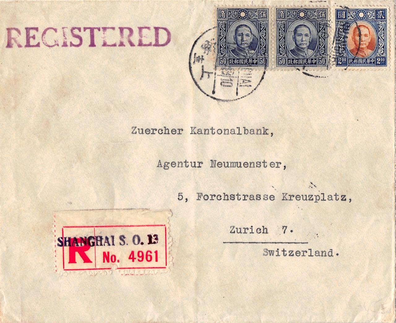 1943, Einschreibbrief aus Shanghai in die Schweiz über den Landweg befördert