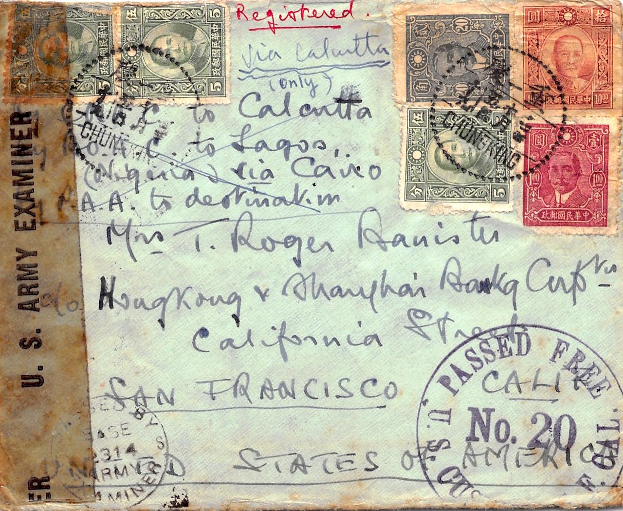 1943, doppelt zensierter Luftpost-Einschreibbrief aus Chungking nach USA mit Zollstempel