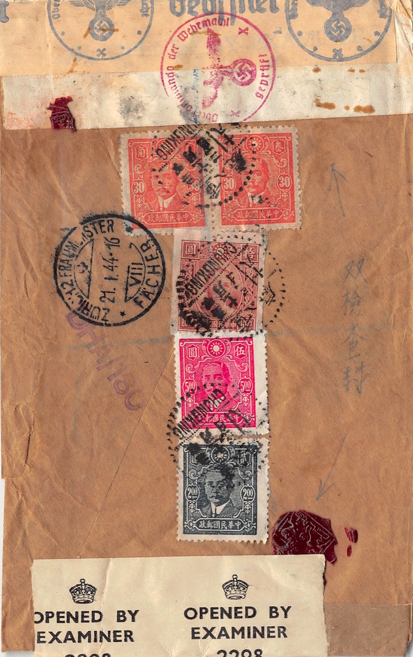 """1943, dreifach zensierter Luftpost-Einschreibbrief aus Chungking in die Schweiz via """"Over The Hump"""""""
