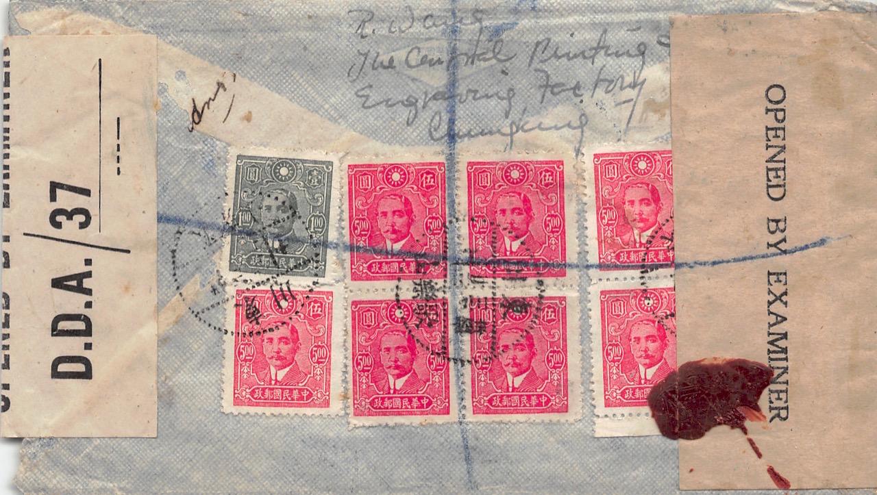 1945, doppelt zensierter Luftpost-Einschreibbrief aus Chungking nach Neuseeland