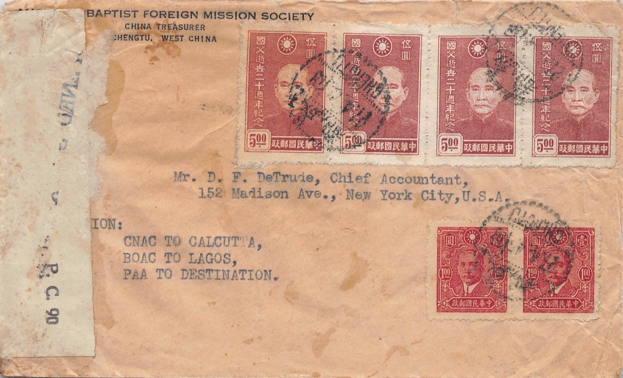 """1945, zensierter Luftpost-Einschreibbrief aus Chengdu nach New York (USA) mit Sondermarken """"20. Todestag Dr. Sun Yat-sen's"""""""