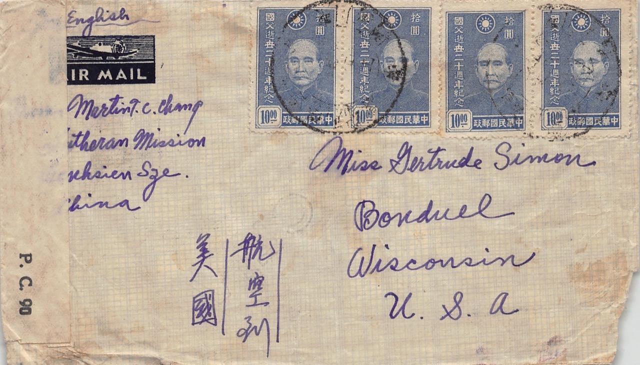 1945, zensierter Luftpostbrief aus Wanhsien (Sichuan) nach Wisconsin (USA) mit Sonderstempel