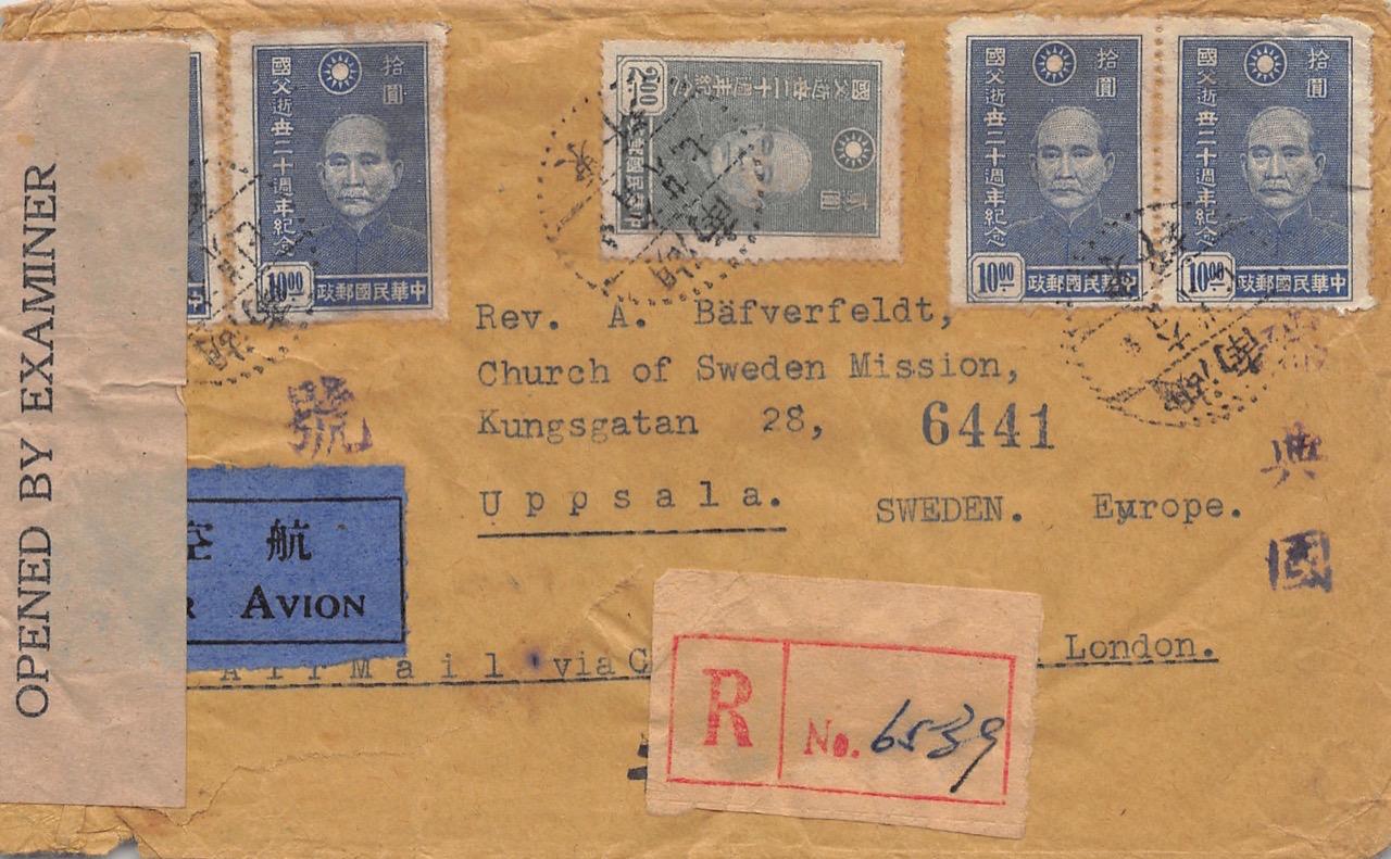 """1945, zensierter Luftpost-Einschreibbrief aus Dongping (Hunan) nach Schweden via """"Over The Hump"""" und England"""