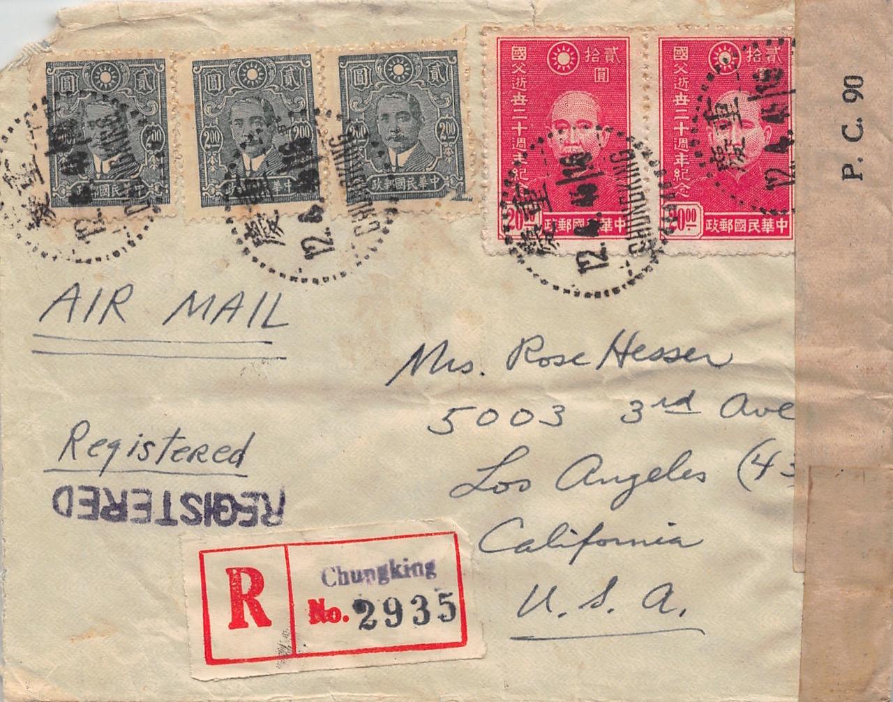 """1945, zensierter Luftpost-Einschreibbrief aus Chungking nach Los Angeles (USA) via """"Over The Hump"""" und Westafrika"""