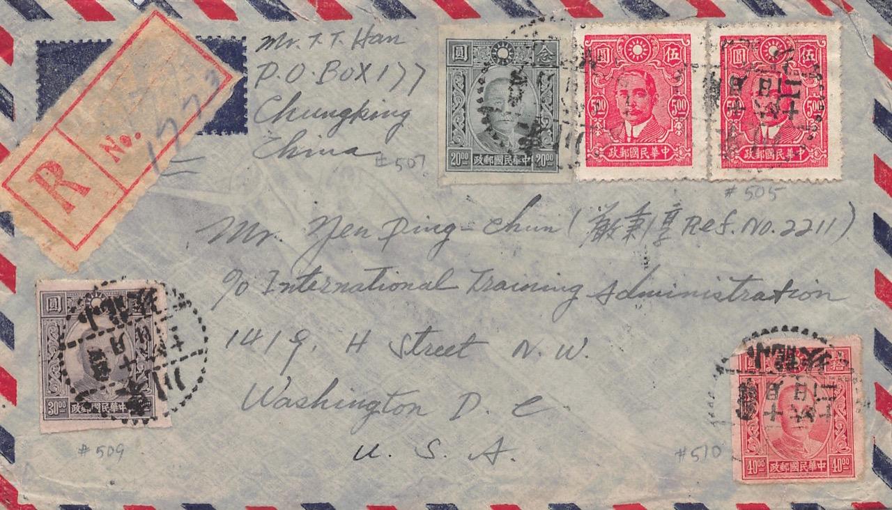 """1945, zensierter Luftpost-Einschreibbrief aus Chungking nach Washington (USA) via """"Over The Hump"""" und Westafrika"""